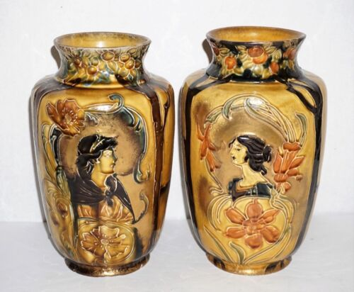 Antique Thomas Forester Majolica Art Nouveau Portrait Pottery Vase Pair
