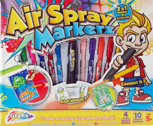 AIRBRUSH AIR SPRAY BLOW PAINT MARKERZ PENS ARTS & CRAFT COLOURING SET 13-0138