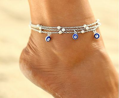☆ Fußkette | Nazar-Boncuk-Amulett Türkei Auge | 22-27cm | Silber Edelmetall ☆