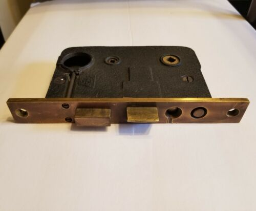 Antique Brass Button Mortise Lock - Heavy Duty, Oiled and In Great Working Cond.