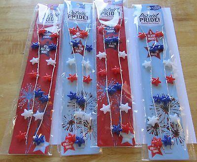 Patriot Pride Flashing Star Necklaces SET OF 4 -3 flash modes- batteries - Flashing Star Necklace