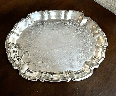 Dollhouse Miniature Round Metal Tray or Large Plate with Pewter Finish