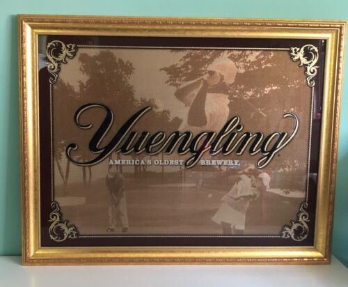 Vintage Yuengling Beer Golf Mirror Sign America's Oldest Brewery Gold Framed