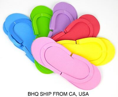 DISPOSABLE FOAM PEDICURE SLIPPERS 24 PAIRS ASSORTED COLOR