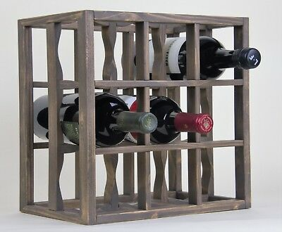 (Victoria Wine Rack 9 bottles Solid Wood Smoked Color Countertop)