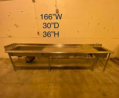 Stainless Steel Cafeteria Prep Station With 2 Sinks.