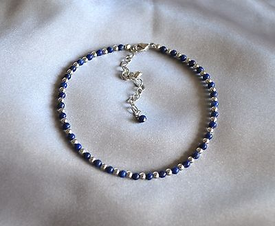 Dark Blue Lapis Lazuli & .925 Sterling Silver Bead Ankle Bracelet 8 to 10 Inches