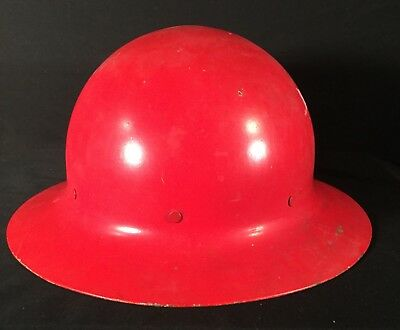 Vtg Red Metal Hard Hat Helmet Safety Gear Logging Mining Protection