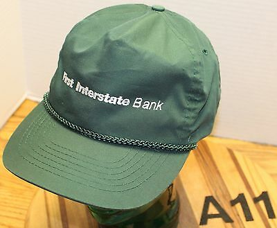 First Interstate Bank Hat Dark Green Adjustable Very Good Condition A11