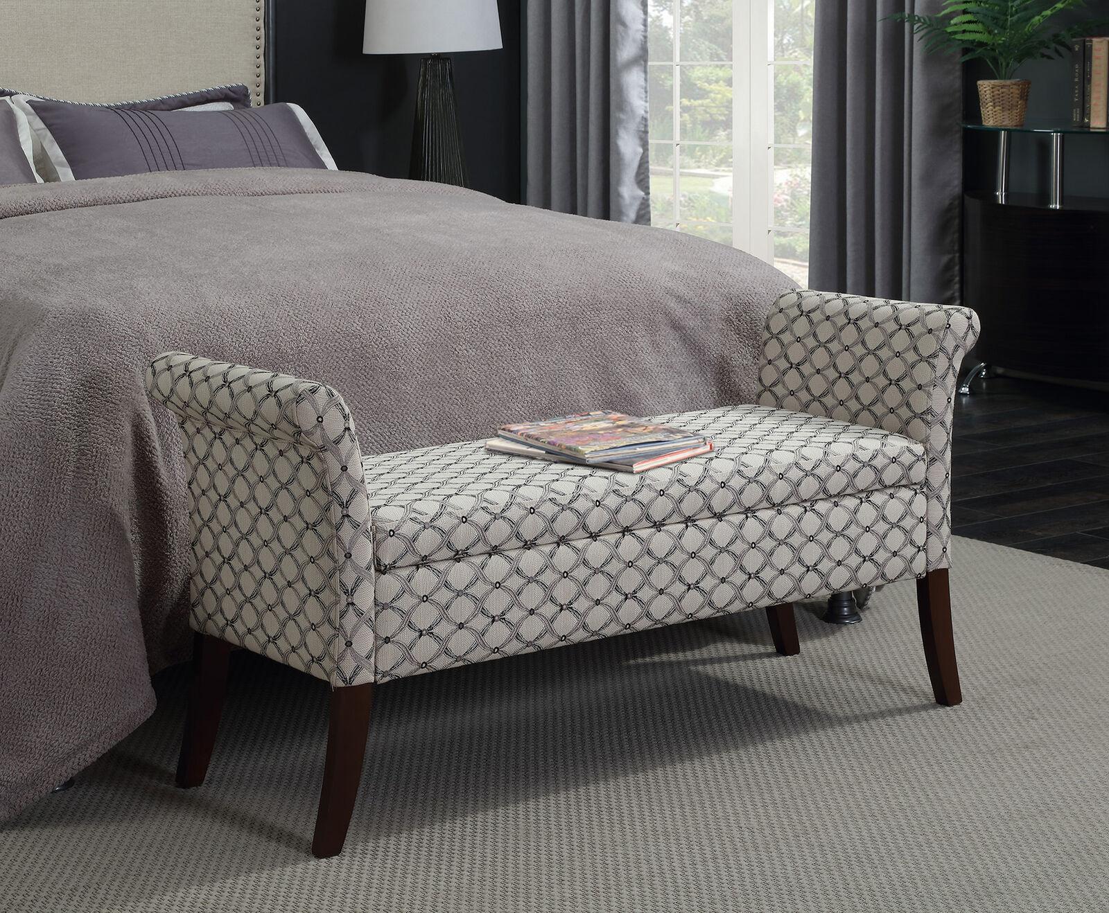 Bedroom Storage Bench Ottoman Seat Fabric Sofa Hallway Living Room Furniture New Ebay