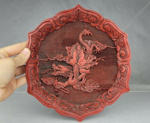 Vintage Chinese Carved Cinnabar & Lacquer Carved Dragon Theme 9
