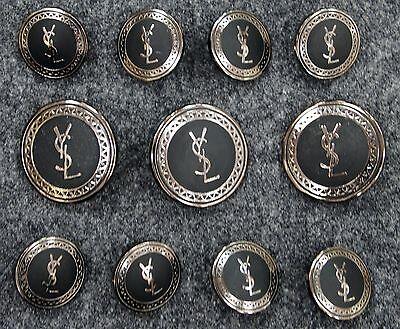 YSL Yves Saint Laurent Silver Metal Blazer Buttons Set