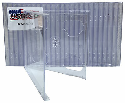 100 USDISC CD Jewel Cases Standard 10.4mm, Double 2 Disc (Clear) Double Clear Cd Jewel Cases