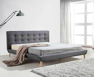 ON SALE - King Linen Fabric Deluxe Bed Frame Grey Melbourne CBD Melbourne City Preview