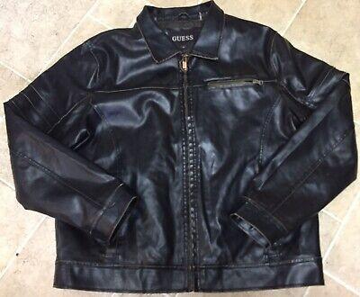 GUESS Jeans Vintage Mens Heavy Faux Leather Zip Jacket Size XL Dark Brown Color