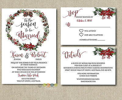 Personalized Winter Wedding Invitations Wreath Pine Tree Holiday with Envelopes  - Tree Wedding Invitations
