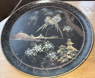 English Papier-Mache Aesthetic Tray Jaapanese Birds,Mountains
