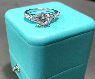 2 CT ROUND CUT DIAMOND SOLITAIRE ENGAGEMENT RING 14K WHITE GOLD ENHANCED Cut Solitaire Ring