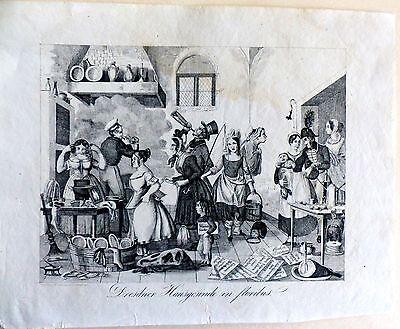 Dresden Hausgesinde in floribus Medau Leitmeritz Satire Litho um 1850
