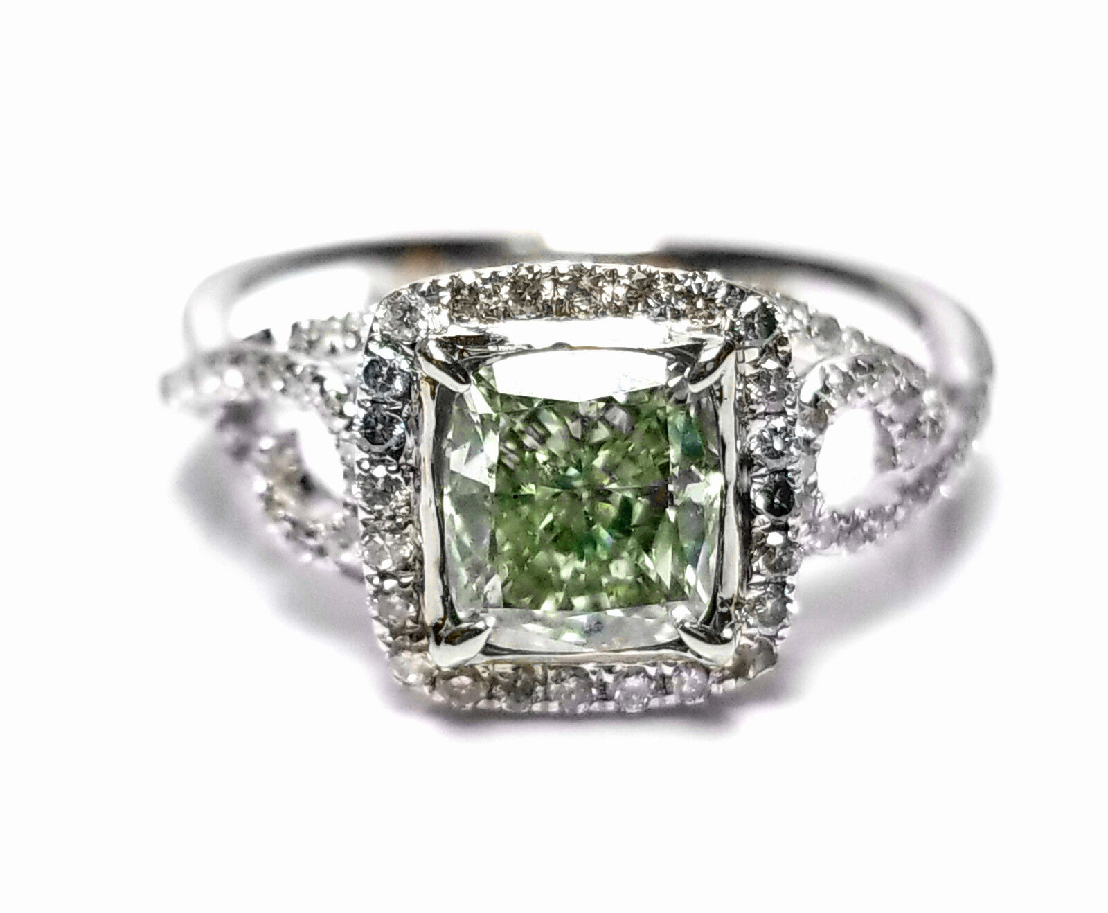 1.73ct Natural Fancy Green Diamond Engagement Ring GIA 18K White Gold Cushion 2