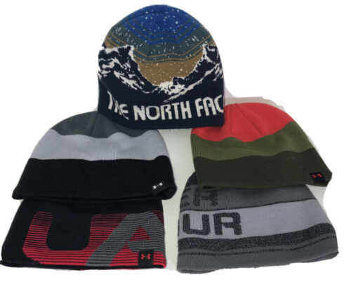 LOT OF 5 Under Armour + The North Face Beanies Hats Youth Ki