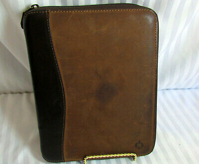 Fg Brn Nubuck Leather Distressed Franklin Covey Classic Planner W Cell Pocket