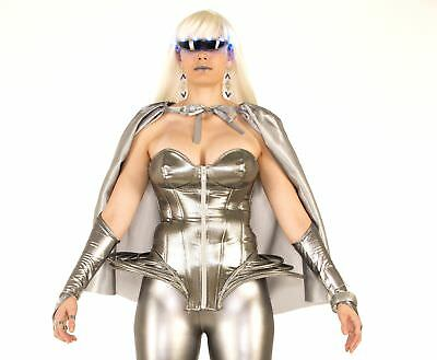 Futuristic Silver Corset Outer Space Lady Gaga Disco Women's Costume Accessory (Space Costumes For Women)