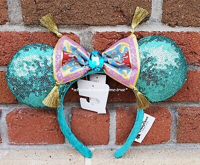 Disney Parks Aladdin Jasmine Magic Carpet Bow Sequined Minnie Ears Headband NEW Disneys Aladdin Magic Carpet
