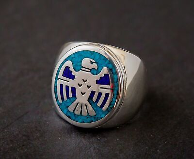 Sterling silver thunderbird ring with lapis lazuli and turquoise inlay work