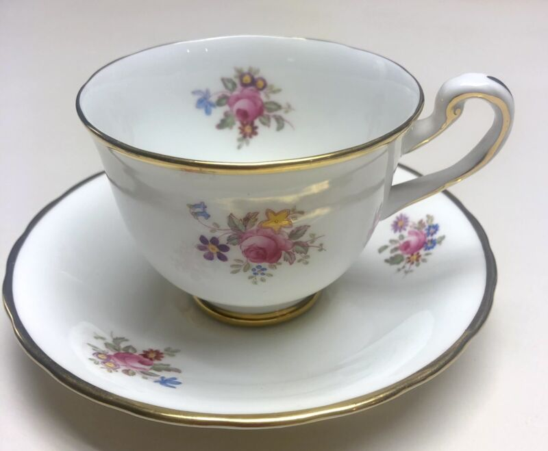 Antique Bone China Royal Chelsea Pink Rose Gold Rimmed Teacup and Saucer