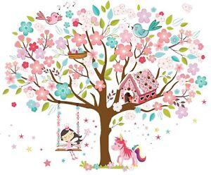 Wall Stickers Art Decor Kids Room Girls Pink Fairy Bird Unicorn Vinyl Decoration