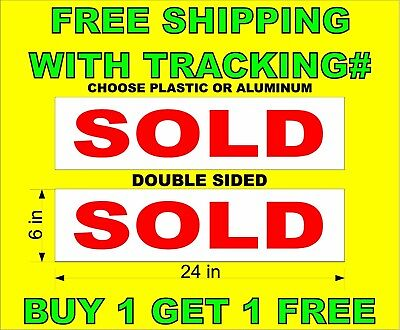 Sold Red White 6x24 2 Sided Real Estate Rider Signs Buy 1 Get 1 Free
