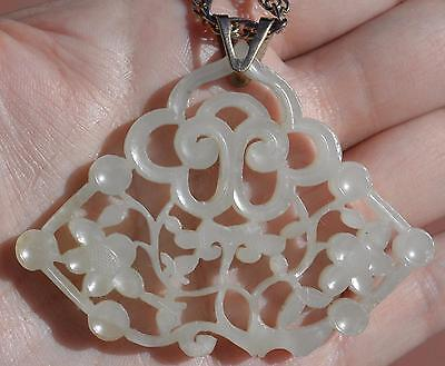 19C Chinese White Jade Nephrite Carved Carving Plaque Pendant 14K Gold Necklace