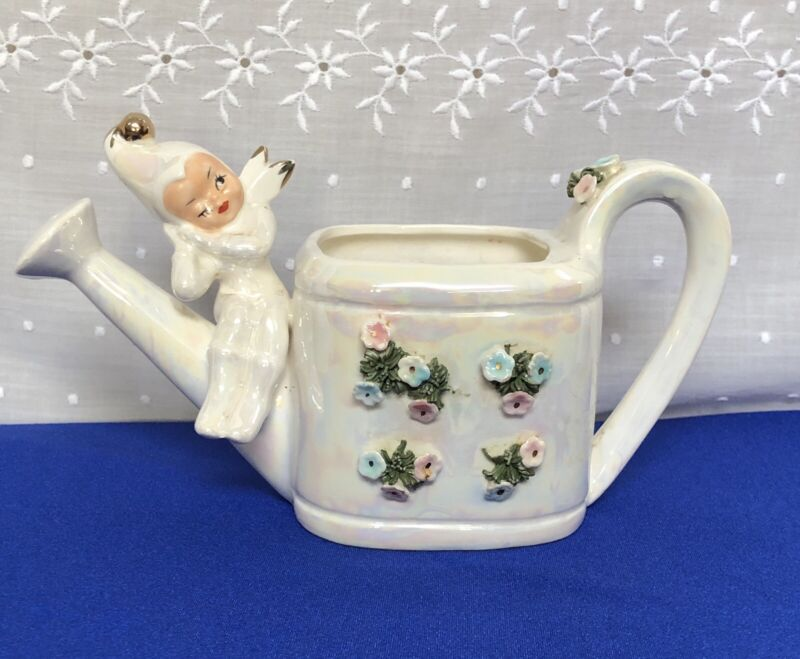 Vtg.Lefton Winking Pixie.Angel.on Watering Can.Ceramic Iridescent Planter.Sweet!