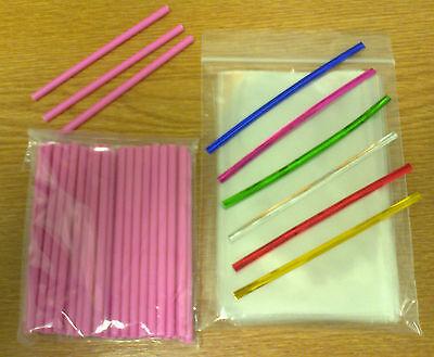 Pink Lollipop Sticks (50 x 89mm PINK PLASTIC LOLLIPOP STICKS CAKE POP KIT INCLUDES BAGS & TWISTTIES)