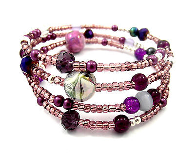 Memory Wire Bracelet Jewellery Making Kit Purple/Mauve with Instructions K0033