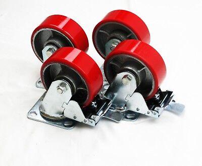 Casters 5 Heavy Duty Cast Iron Hub Core Poly Wheel Non Skid 2 Brakes 2 Rigid