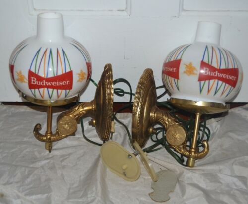 Vintage Pair Budweiser Beer Anheuser Busch Advertising Lamps Wall Sconces