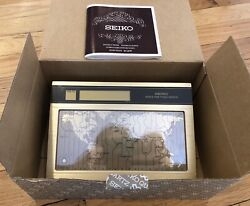 "EUC Vintage SEIKO ""World Time Touch Sensor"" Time Zone Desk Clock w/ Box + Manual"