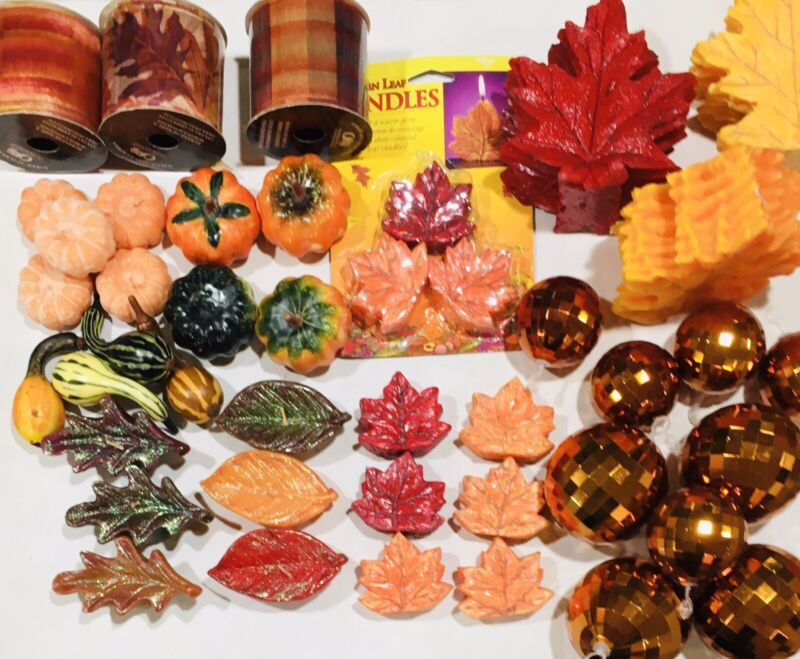 Lot 40+ Fall Thanksgiving Decor Candles Leaf Gourds Ball Ornaments Gift Ribbon