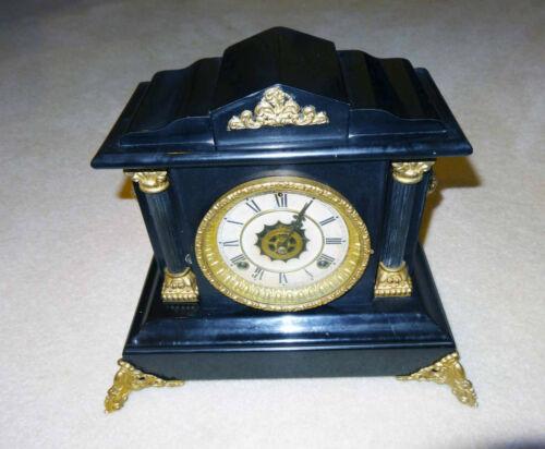 """Rare Antique 1910 Waterbury """"donovan"""" Alarm Black Mantel Clock"""