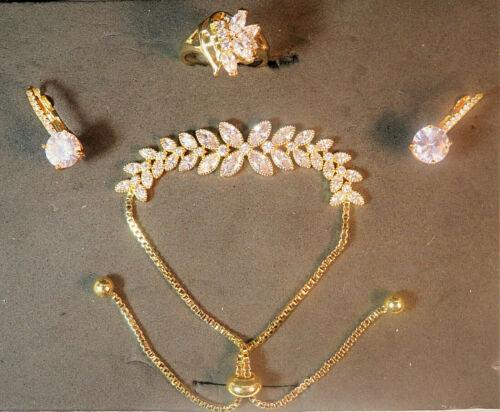 top quality cubic zirconia vermeil jewelry set, bracelet earrings ring size 7.5