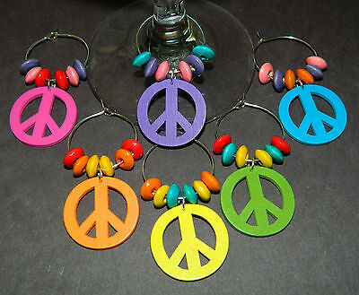 Set of 6 Multi-Color Wood Silver PEACE ...