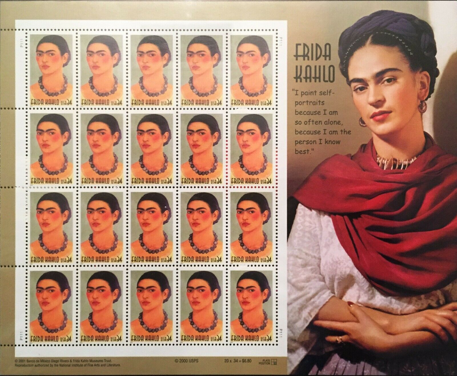 FRIDA KAHLO SET OF TWO FULL SHEETS OF MINT NEVER HINGED US MEXICO STAMPS - $60.00