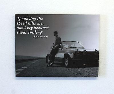 "Paul Walker Black & White Canvas Print 24"" x 18"""