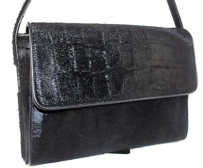 Auth GUCCI Black Spawn Fur Leather Shoulder Bag Hand Bag Purse Italy Vintage