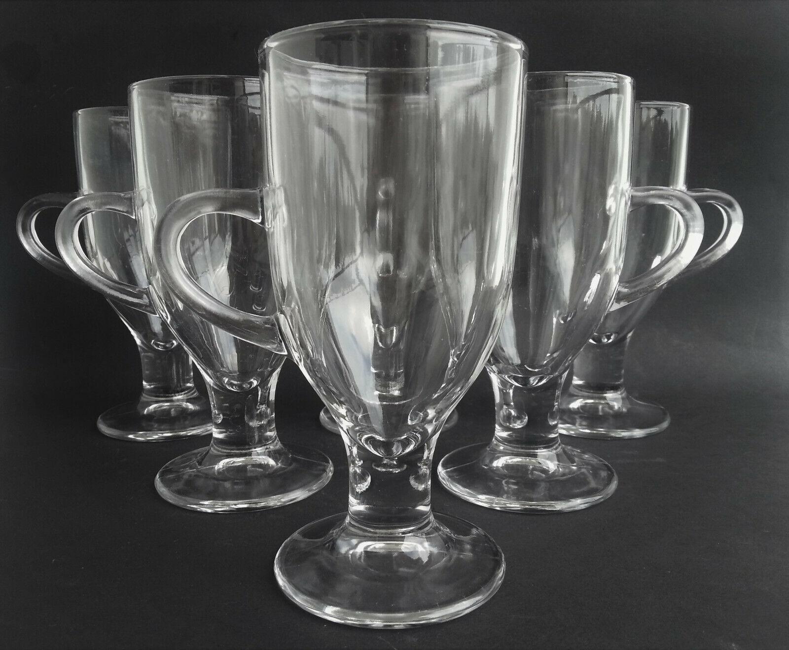 Glastasse Griff Standfuß   6 Gläser 0,25 Liter Becher 15,9 cm für Tee Kaffee uvm