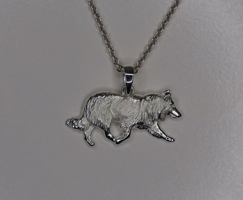 Large Sterling Silver Border Collie Head Study Pendant