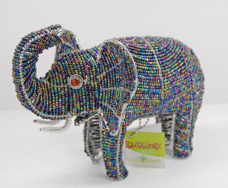 Beadworx Grassroots African Art Glass Bead & Metal Elephant Figurine Sculpture