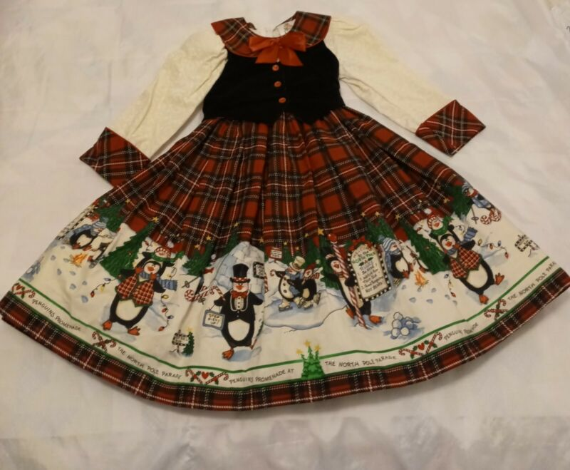 Vintage Deadstock Daisy Kingdom Christmas Winter Dress 4T Penguins Candy Canes
